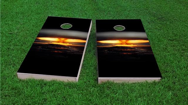 Nuclear Bomb Explosion Themed Custom Cornhole Board Design