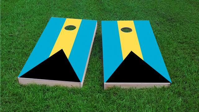 Bahamas National Flag Themed Custom Cornhole Board Design
