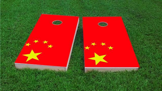China National Flag Themed Custom Cornhole Board Design