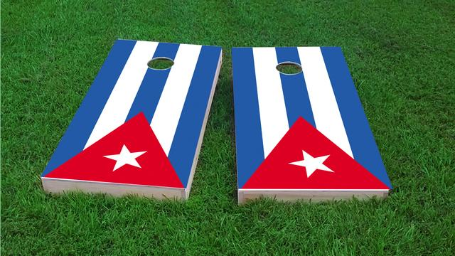 Cuba National Flag Themed Custom Cornhole Board Design
