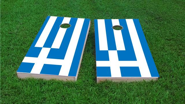 Greece National Flag Themed Custom Cornhole Board Design