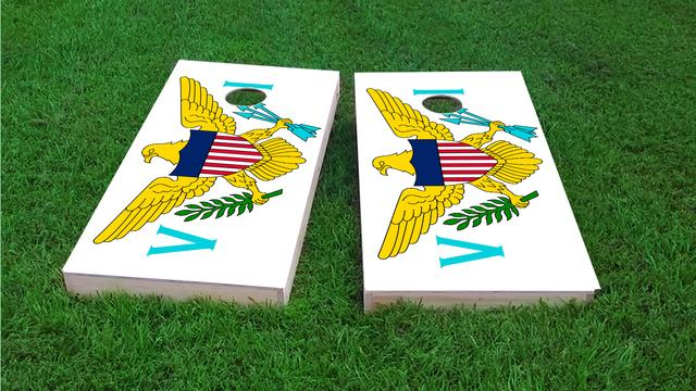 Virgin Islands National Flag Themed Custom Cornhole Board Design