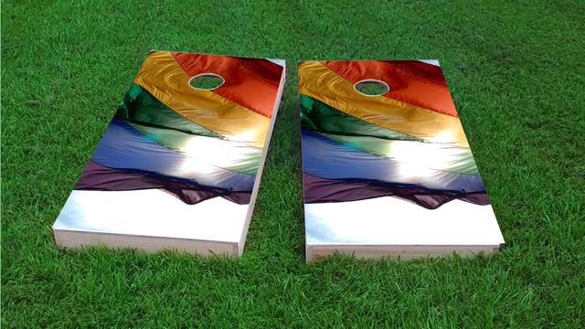 Gay Pride Rainbow Flag in the Sun Themed Custom Cornhole Board Design