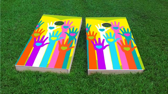 Gay Pride Hands of Love Themed Custom Cornhole Board Design