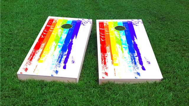 Gay Pride Rainbow Paint with Birds Themed Custom Cornhole Board Design