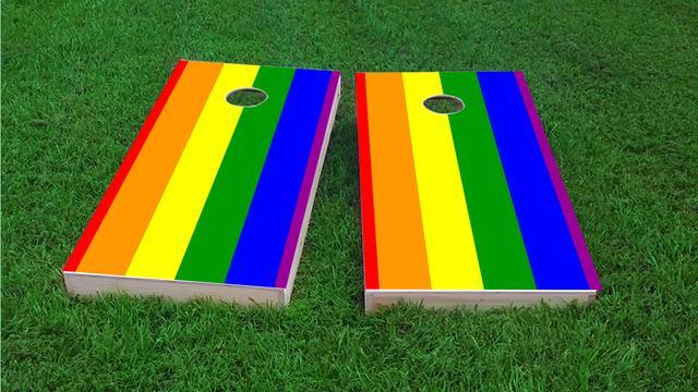 Gay Pride Rainbow Flag Traditional Themed Custom Cornhole Board Design