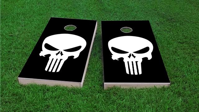 Punisher Skull In Any Color Custom Cornhole Board Design