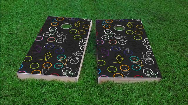 Bicycle Art Themed Custom Cornhole Board Design