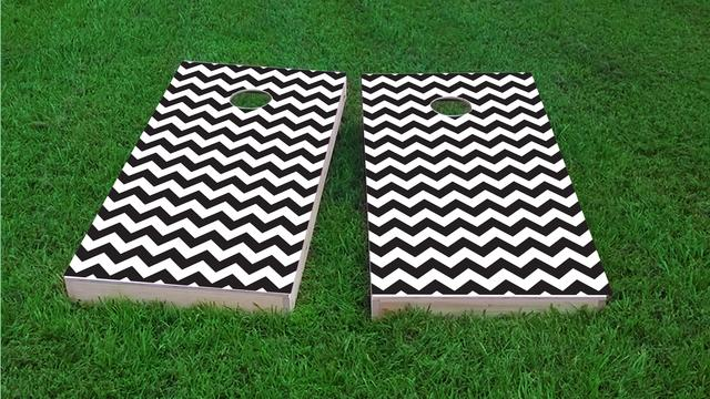 Chevron Pattern - Black Themed Custom Cornhole Board Design