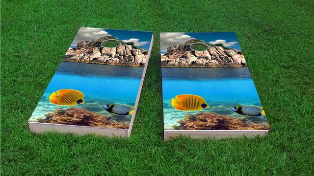 Tropical Coral Reef Themed Custom Cornhole Board Design