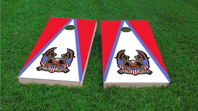 Bald Eagle - In God We Trust Themed Custom Cornhole Board Design