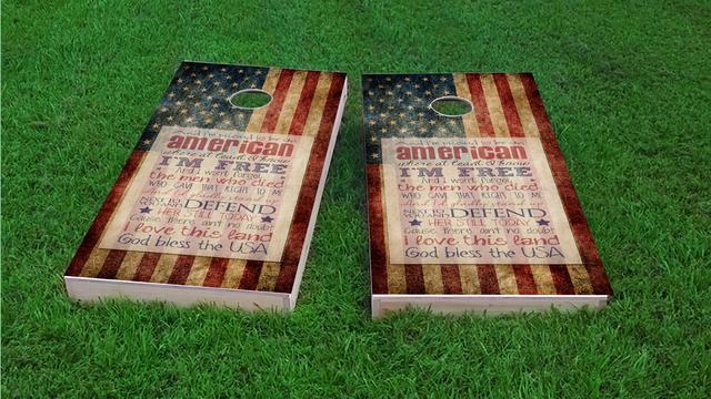 Proud to be an American Themed Custom Cornhole Board Design