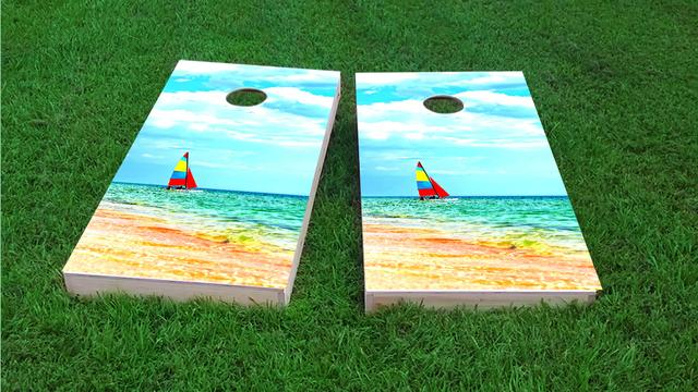 Boat Beach Themed Custom Cornhole Board Design