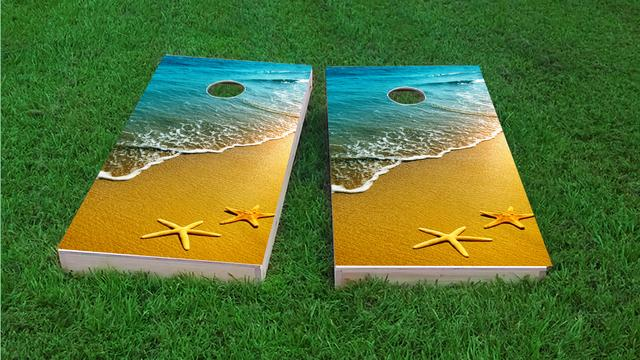 Star Fish Themed Custom Cornhole Board Design