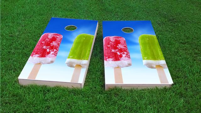Popsicles 2 Themed Custom Cornhole Board Design