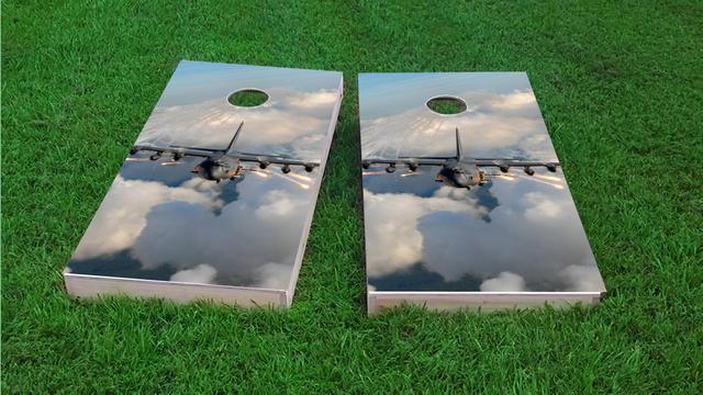 Jet Themed Custom Cornhole Board Design