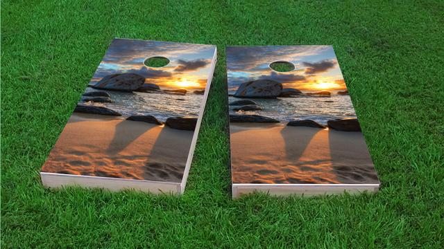 Beach Sunset Themed Custom Cornhole Board Design