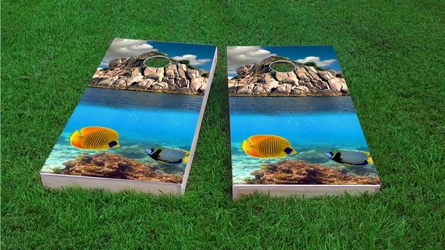 Coral Reef Custom Cornhole Board Design