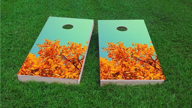 Fall Leaves Themed Custom Cornhole Board Design
