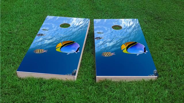 Blue Fish Themed Custom Cornhole Board Design