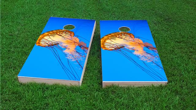 Jelly Fish Themed Custom Cornhole Board Design