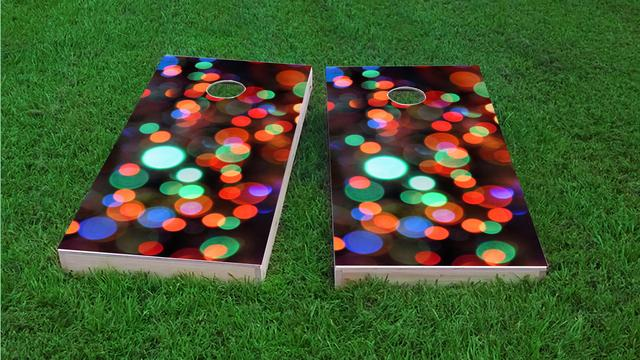 Lights Themed Custom Cornhole Board Design