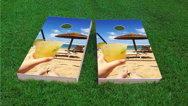 Magaritas on Beach Themed Custom Cornhole Board Design