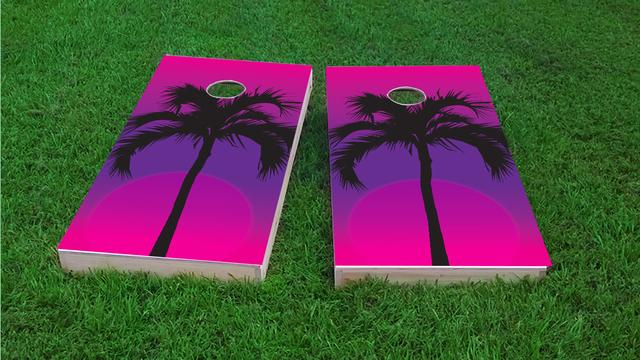 Palms at NightThemed Custom Cornhole Board Design