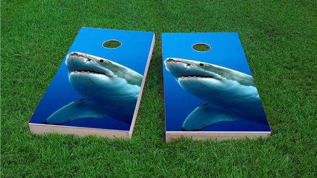 Shark Themed Custom Cornhole Board Design