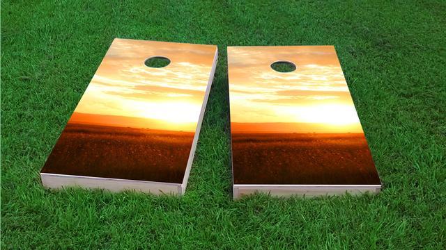 Sunset Themed Custom Cornhole Board Design