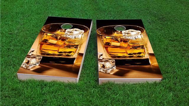 Whiskey Themed Custom Cornhole Board Design