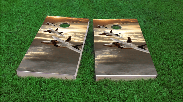 3 Jets Themed Custom Cornhole Board Design