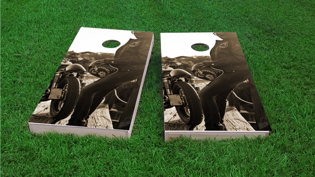 Biker Girl Themed Custom Cornhole Board Design