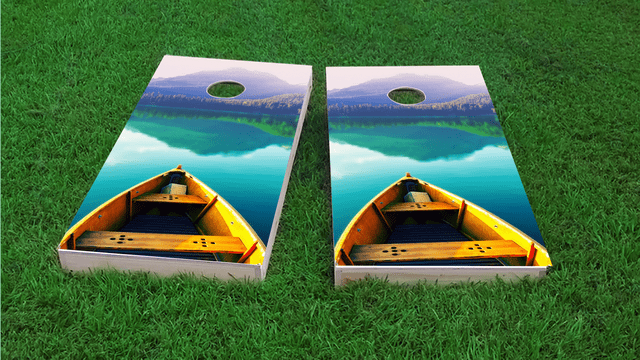 Boat Themed Custom Cornhole Board Design