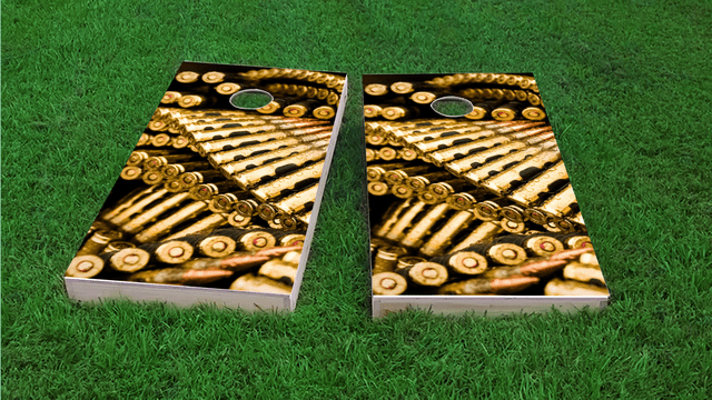 Golden Bullet Themed Custom Cornhole Board Design