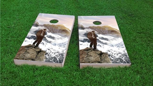 Mountain Climber Themed Custom Cornhole Board Design