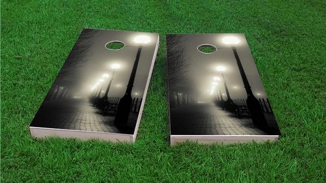 Romantic Walkway Themed Custom Cornhole Board Design
