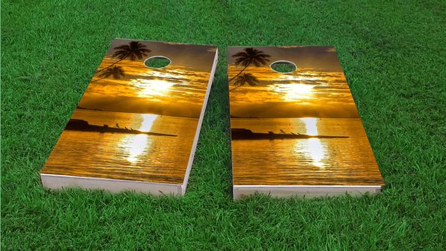 Sea Sunset Themed Custom Cornhole Board Design