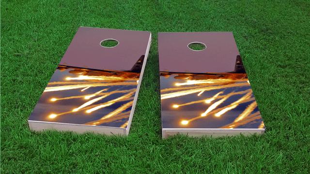 AC130 With Flares Themed Custom Cornhole Board Design