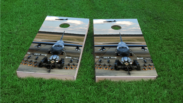 B-52 Bomber Aircraft Artillery Themed Custom Cornhole Board Design