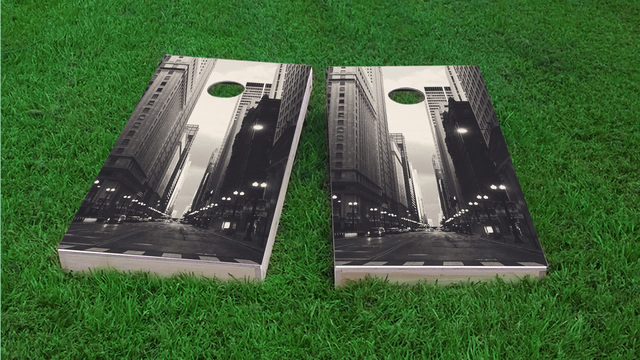 City of Chicago Themed Custom Cornhole Board Design