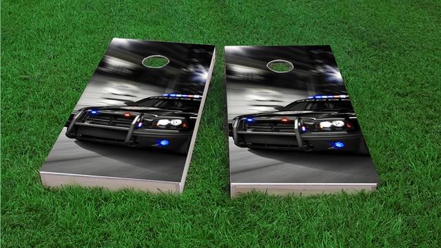 Chasing Cop Car Themed Custom Cornhole Board Design