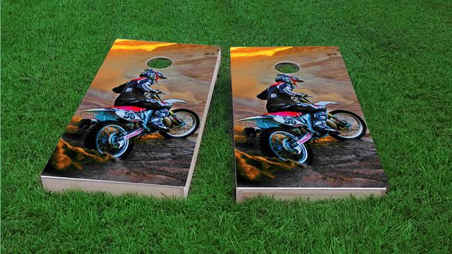Riding Dirtbikes Themed Custom Cornhole Board Design