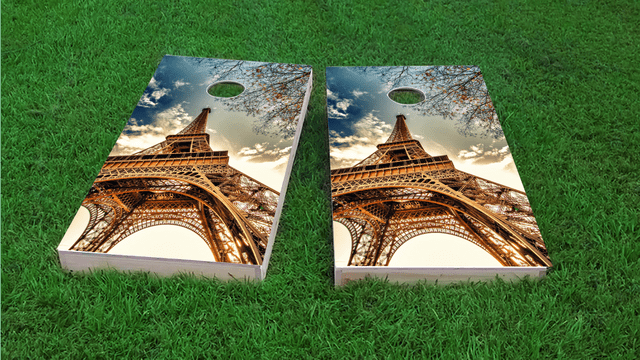 Effil Tower in Paris Themed Custom Cornhole Board Design