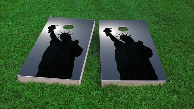 Lady Liberty in Moonlight Themed Custom Cornhole Board Design