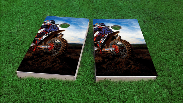 Moto Riding in Mud Themed Custom Cornhole Board Design