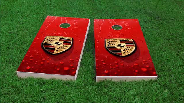 Porsche Logo Themed Custom Cornhole Board Design