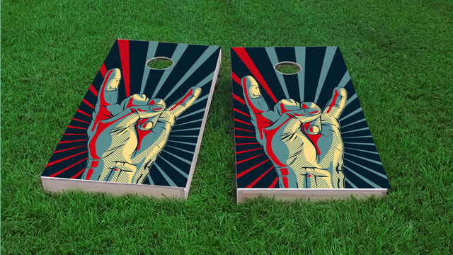Rock Hand Themed Custom Cornhole Board Design