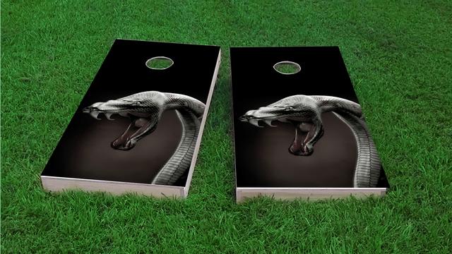 Snake in the Grass Themed Custom Cornhole Board Design