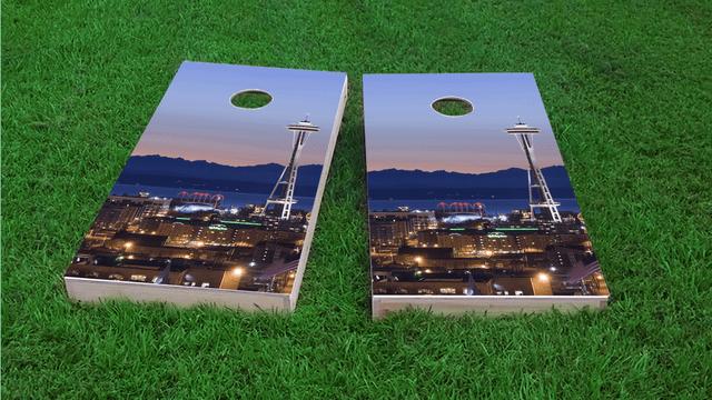 Seattle's Space Needle Themed Custom Cornhole Board Design